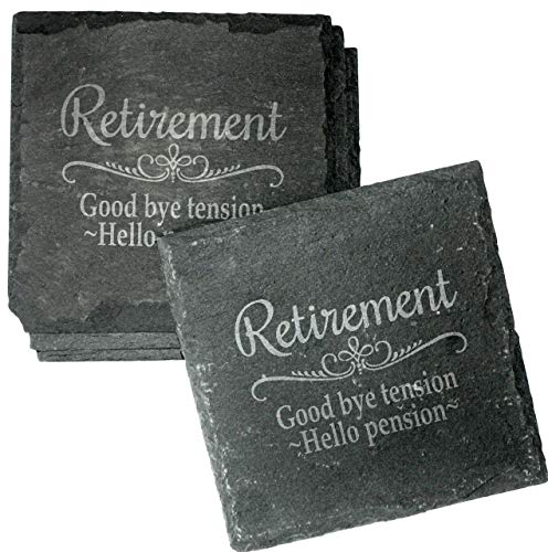 - Retirement Gift Engraved Slate Coaster Set - Goodbye Tension, Hello Pension Etched Absorbent Drink Coasters - CSL34