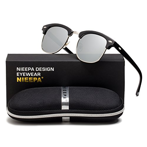 NIEEPA Semi Rimless Polarized Sunglasses Classic Brand Sun Glasses With Metal Retro Rivets (White Lens/Silver - White Clubmaster