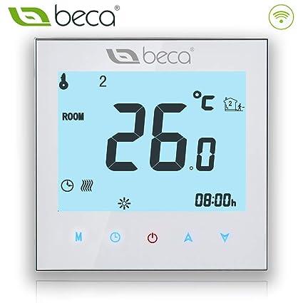 WIFI Termostato de calefacción, BECA Interruptor de control Wi-Fi Pantalla táctil LCD 3A