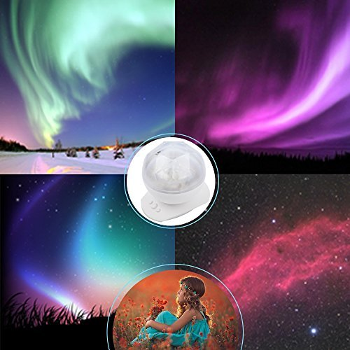 Goldenwide® Aurora Borealis Projector Speaker LED Decorative Night Light MP3 Player for Nursery Kids Room Playroom Bathroom Bedroom Living Room - White