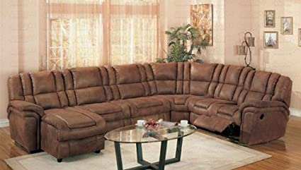 Surprising Amazon Com Sectional Recliner Sofa With Chaise Rust Beatyapartments Chair Design Images Beatyapartmentscom