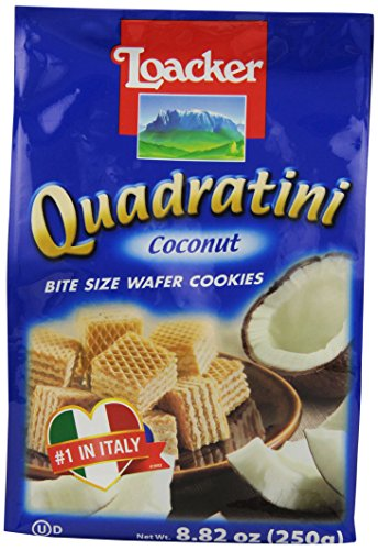 Coconut Wafer Cookies - Loacker Quadratini, Coconut, 8.8-Ounce (Pack of 8)