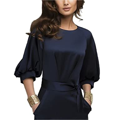 Omine Womens Lantern Sleeve Navy Blue Wear to Work With Belt Dress ...
