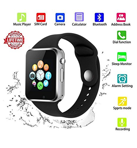 Smart Watch Android,HongTu Bluetooth Smart Watch Touchscreen with Camera Pedometer SIM TF Card Slot for LG XiaoMi Huawei Samsung iOS for Mens Women (Black) by HongTu