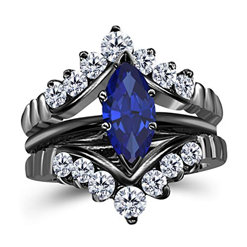 (Gems and Jewels 0.75 Ct Marquise Solitaire Engagement Wedding Ring Band Set Enhancer Blue Sapphire 14k Black Gold Plated Alloy)