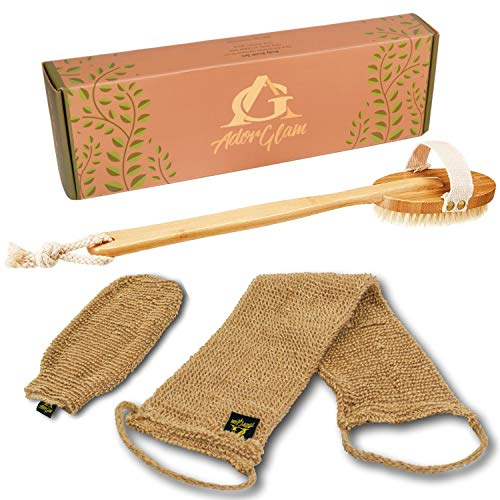 AdorGlam Dry Skin Body Brush Set w/Hemp Scrubbers - Natural Bristle - Promote Lymphatic Draining, Stimulate Blood Flow - Skincare, Cellulite Treatment & Exfoliator Brushing Kit - Long Handle