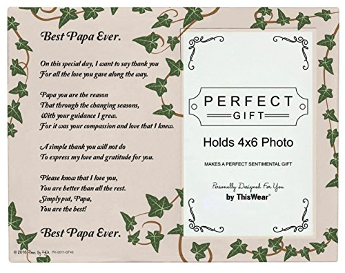 Papa Picture Frame Best Papa Ever Papa Poem Glass Picture Frame 4x6 Photo Frame