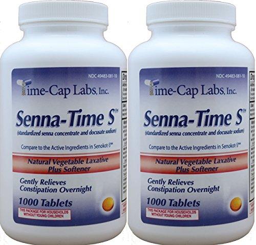 Senna-Time S Generic for Senokot S Natural Vegetable Laxative Senna 8.6 Mg Plus Stool Softener 1000 Tablets per Bottle Pack Of 2 Bottles ()