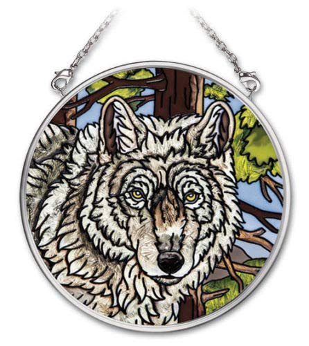 (Stained Glass Suncatcher Wolf Pack Wolves 3.5