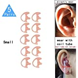 Lsgoodcare Replacement Earmold Earbud (Left and Right Ear) for Two Way Radio Acoustic Coil Tube Earpiece - Open Ear Insert Earmould Earbuds Pink, Small, Soft Silicone Material, 5 Pairs