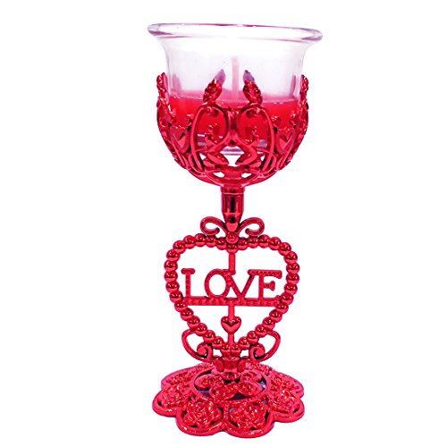 Ratnatraya Glass T Light Candle with Decorative Heart Shape Red Stand | Valentine Gift and Decor