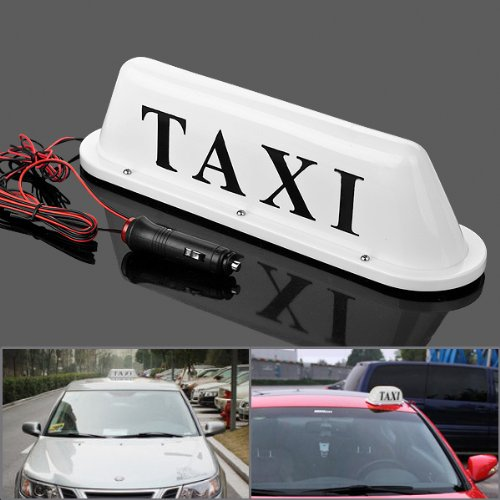 Iztoss white Taxi Cab Roof Top Illuminated Sign Topper Car Bulbs 12V Super Bright Light Magnetic Waterproof Sealed Base with 3m Cable Length (Taxi Equipment)
