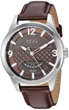 ESQ Men's 'Dress' Quartz Stainless Steel and Leather Casual Watch, Color:Brown (Model: 37ESQE08101A)