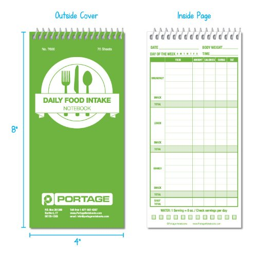 daily food intake record book 4 x 8 inches care path