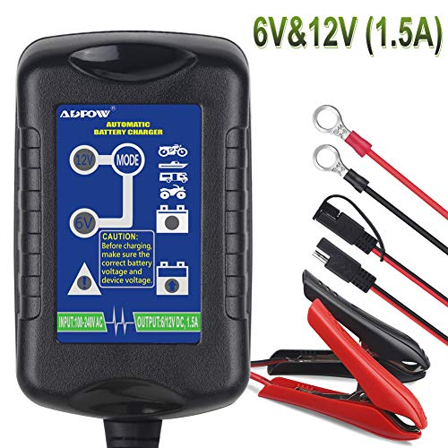 ADPOW Car Battery Charger 6V 12V 1.5A Trickle Battery Charger Automatic Maintainer 6V&12V 4-Step Power Battery Charging for Auto Car Motorcycle Lawn Mower SLA ATV AGM GEL CELL Lead Acid Batteries (Motorcycle Gel Cell)