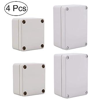 Caja de conexiones a prueba de agua,Fiyuer 4 pcs caja derivación estanca de plástico blanco