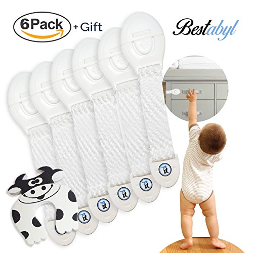 Curve Door - Bestabyl Baby Proofing (6 Pack, White)– Child Safety Locks, Cabinets, Drawers, Appliances, Toilet Seat, Fridge and More– Baby Proof Cabinet Lock– Plus 1 Free Curve Shaped Door Stop Guard.