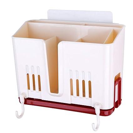wolaoma Rack de Cubiertos de plástico Rack de Almacenamiento de Cocina (Color : Pink,