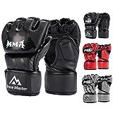 Brace Master MMA Gloves UFC Gloves Boxing Training Gloves Men Women Leather More Padding Fingerless Punching Bag Gloves for The Kickboxing, Sparring, Muay Thai Heavy Bag