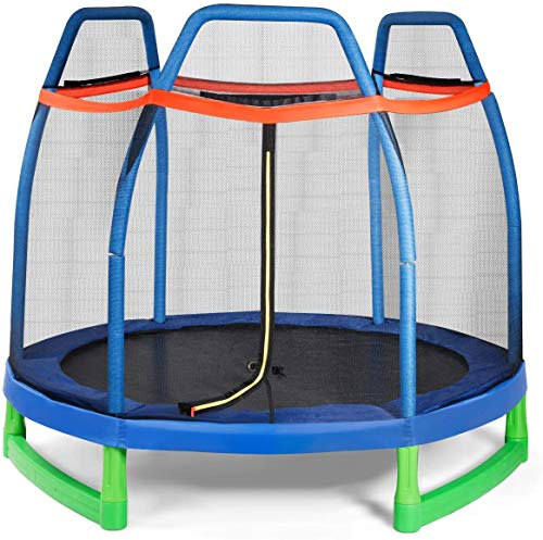 Giantex-7-Ft-Kids-Trampoline-wSafety-Enclosure-Net-Spring-Pad-Zipper-Heavy-Duty-Steel-Frame-Mini-Trampoline-for-IndoorOutdoor-Supports-up-to-220-Pounds-Great-Gifts-for-Kids