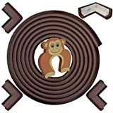 Edge & Corner Guards Set - LONG 17.4ft Coverage Incl 4 Pre-Taped Corners | COFFEE Brown | Child Safety Baby Proofing | Table Sharp Edges Protector, Furniture Edge Corner Bumper Guard