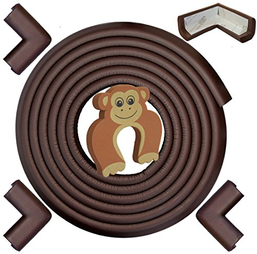 - Edge & Corner Guards Set - LONG 17.4ft Coverage Incl 4 Pre-Taped Corners | COFFEE Brown | Child Safety Baby Proofing | Table Sharp Edges Protector, Furniture Edge Corner Bumper Guard