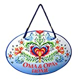 Essence of Europe Gifts E.H.G Oma & Opa's House Ceramic Door Sign Rosemaling Design