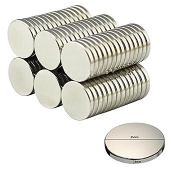 10 unidades de 25 x 3 mm de disco redondo pequeño multiusos imanes ...