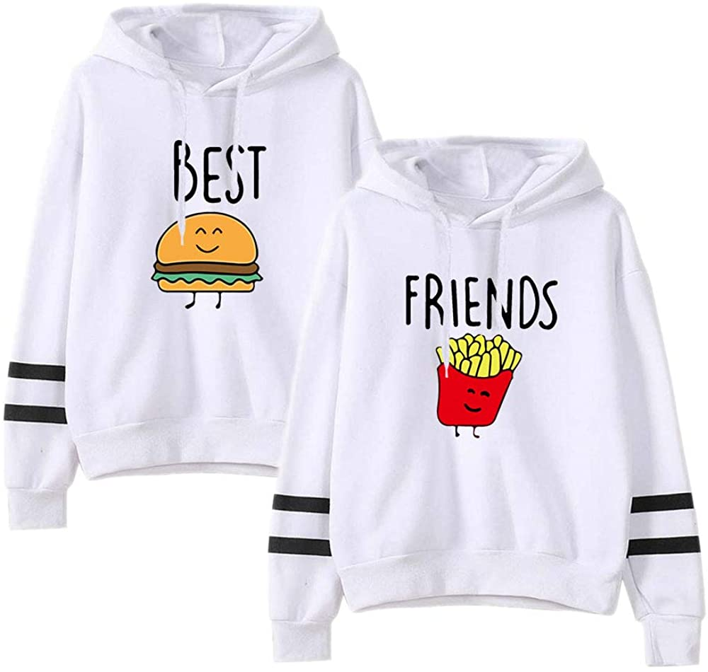 BestFriendHoodiesforWomen-FamilyMatching2 Outfits Gifts FunnyGraphic FoodClothing Long Sleeve Pullover Sweatshirt