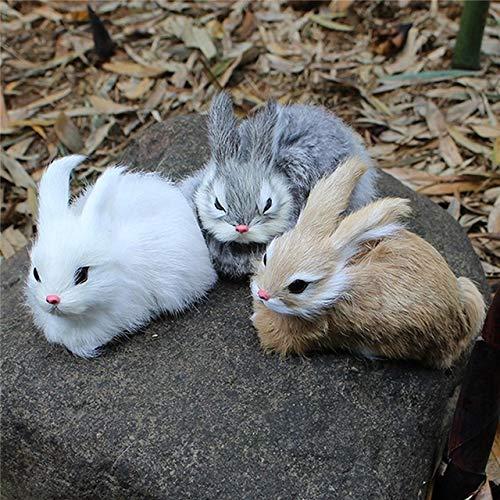 Cute Easter Gift - 15cm Mini Realistic Cute White Plush Rabbits Fur Lifelike Animal Easter Bunny Simulation Toy Model Birthday Gift - Dark Khaki