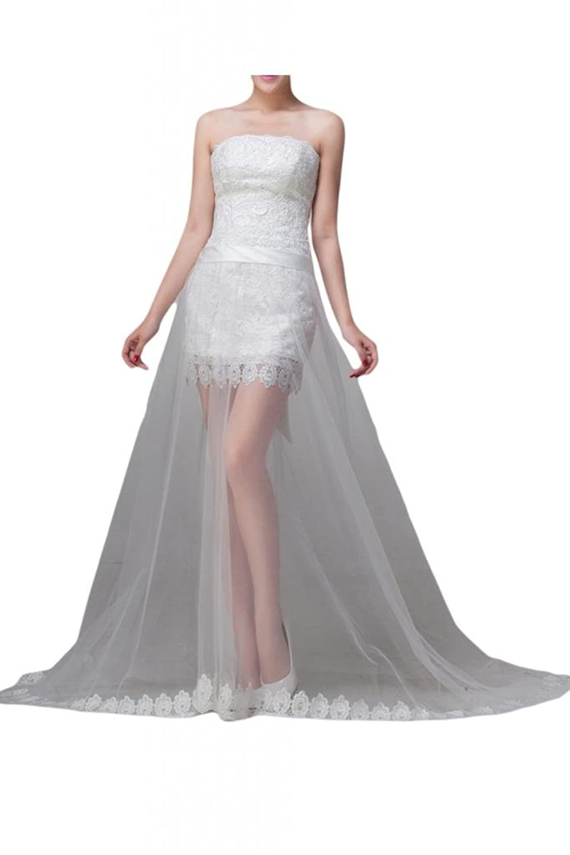 Sunvary New Mini Sheath Beach Wedding Dresses Strapless Lace Satin