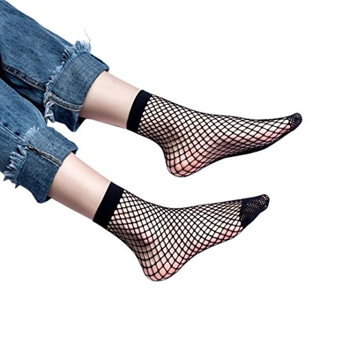 Boddenly Women Stylish Sexy Lace Fishnet Net Plain Top-Ankle Short Socks (B) by Boddenly