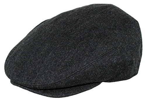 Men's Premium Wool Blend Classic Flat Ivy Newsboy Collection Hat , 1581-Charcoal, X-Large