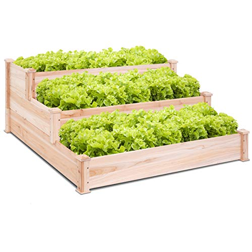 Giantex 3 Tier Wooden Elevated Raised Garden Bed Planter Kit Grow Gardening Vegetable Natural Cedar Wood, 49
