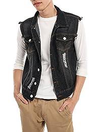 "<span class=""a-offscreen"">[Sponsored]</span>Men's Fashion Sleeveless Lapel Denim Vest Jacket"