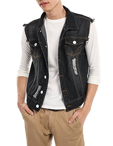 COOFANDY Men's Fashion Sleeveless Lapel Denim Vest Jacket,Black,Large
