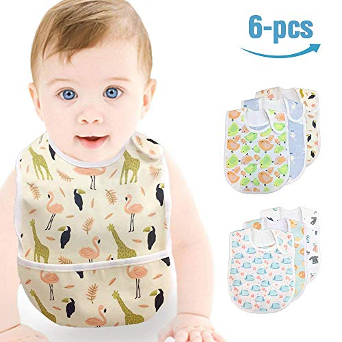 Baby Bibs 6-Pack Waterproof Protection Absorbent Drooling & Feeding Bib Set for 0-3 Years Girl