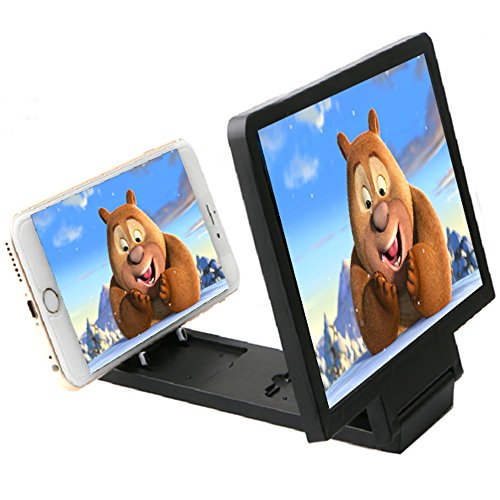 3D Enlarged Screen Glass Magnifier (Black) - 2