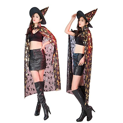 Fashion Unisex Hooded Cloak Coat Witch Robe Cape Long Halloween Cosplay Party (Gold)