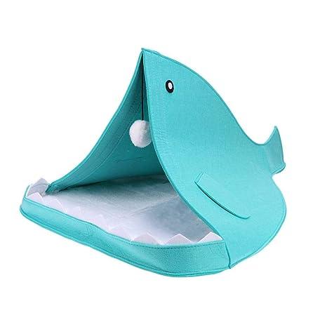 Seawang - Cama de Perro con Forma de tiburón cálido y Suave para Mascotas, Saco