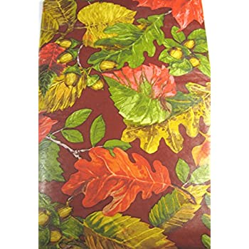 Bountiful Harvest Flannel Backed Vinyl Tablecloths   Fall Leaves By Elrene  Assorted Sizes  Oblong And