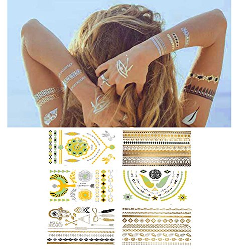 Metallic Temporary Tattoos for Women Teens Girls -Over 75 Mandala, Mehndi, Boho Temporary Tattoos in Gold and Silver (6 Sheets)- Glow in the Dark Color Flash Fake Waterproof Tattoo (Glow in the dark) -
