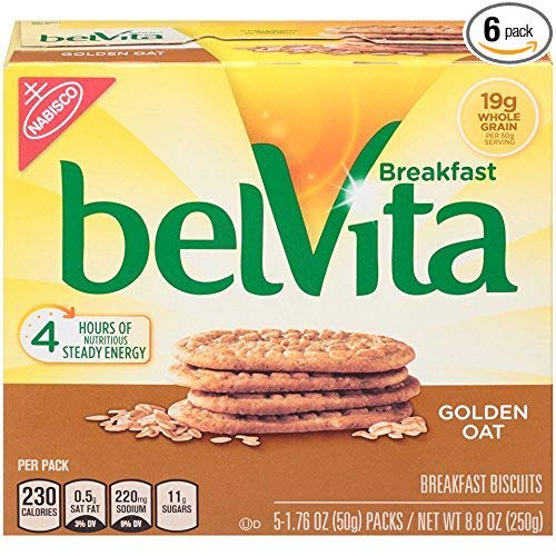 belVita Golden Oat Breakfast Biscuits, 5 Count Box, 8.8 Ounce (Pack of 6) (3 Pack (Pack of 6)) by Belvita