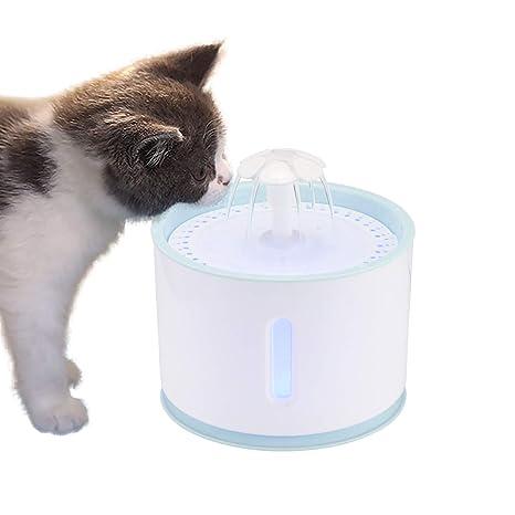 OurLeeme Fuente de Agua para Mascotas, 2.4L Perro Gato Fuente de Mascotas Dispensador de