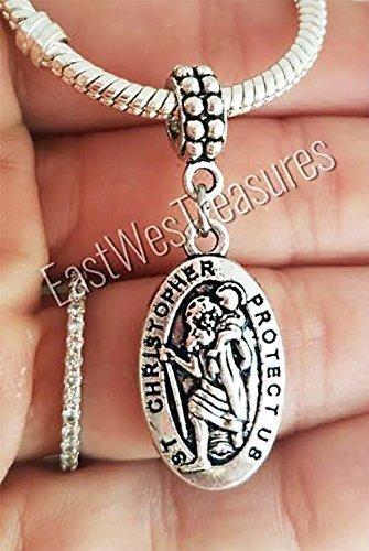 EWT religious, faith, Christian, Saint St Christopher travel Protection charm pendant for all brand & European charm bracelet and any chain necklace ()