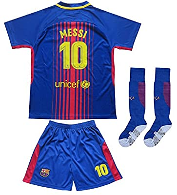 2017/2018 Barcelona #10 Messi Kids Home Soccer Football Jersey & Shorts Socks Youth Sizes