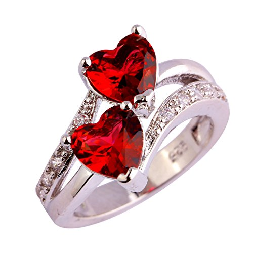 LingMei Pass Double Heart Simulated Ruby CZ Promise Ring for Her