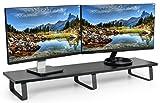 VIVO Black Wood 39' Wide Extra Long Desktop Stand Ergonomic TV, Dual Monitor Riser and Desk Tabletop Organizer (STAND-V000DL)