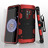 MyBat Cell Phone Case for Samsung Galaxy S9 Plus - Black/Red Solid