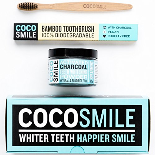 Activated Charcoal Natural Teeth Whitening Powder 90g | 50% More Premium Activated Charcoal Powder than Other Brands | With Charcoal Bamboo Toothbrush | CocoSmile | Spearmint Flavour